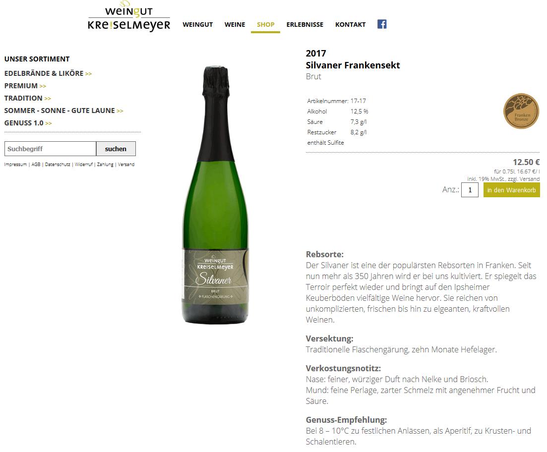 Screenshot vom Shop Kreiselmeyer