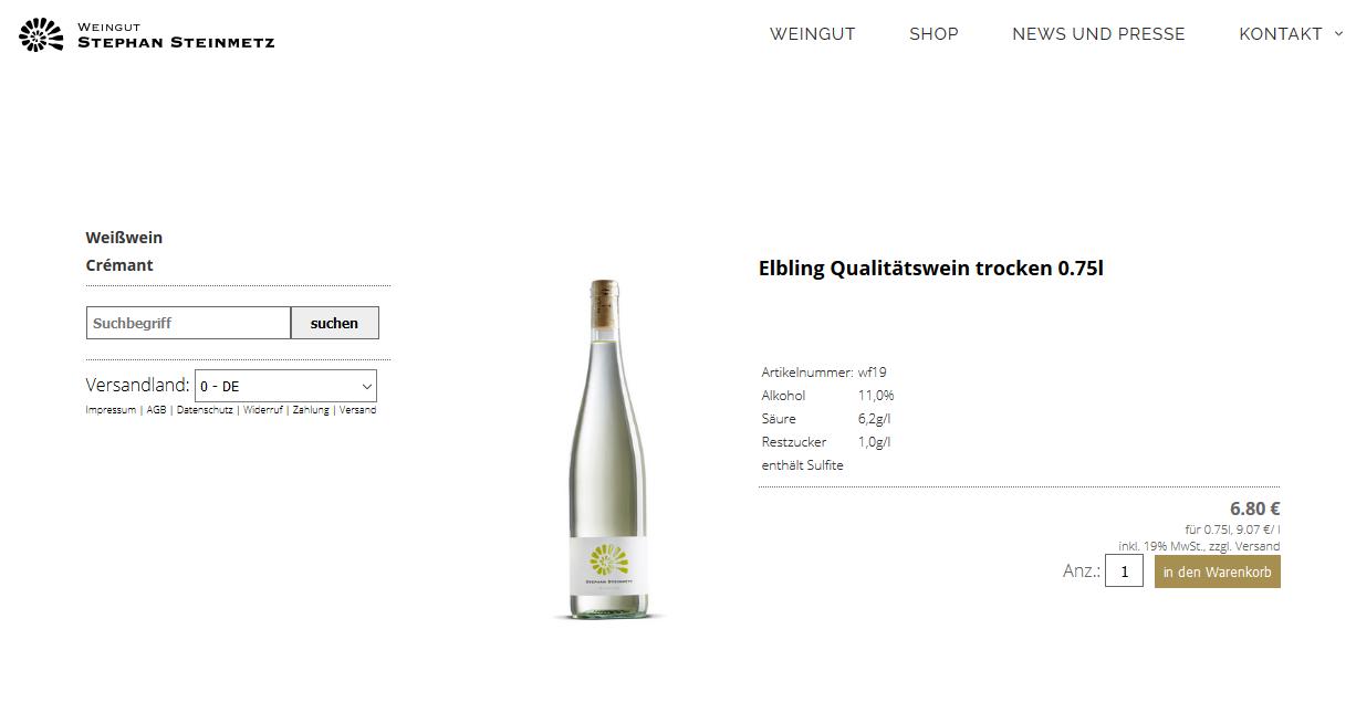 Screenshot vom Shop Steinmetz
