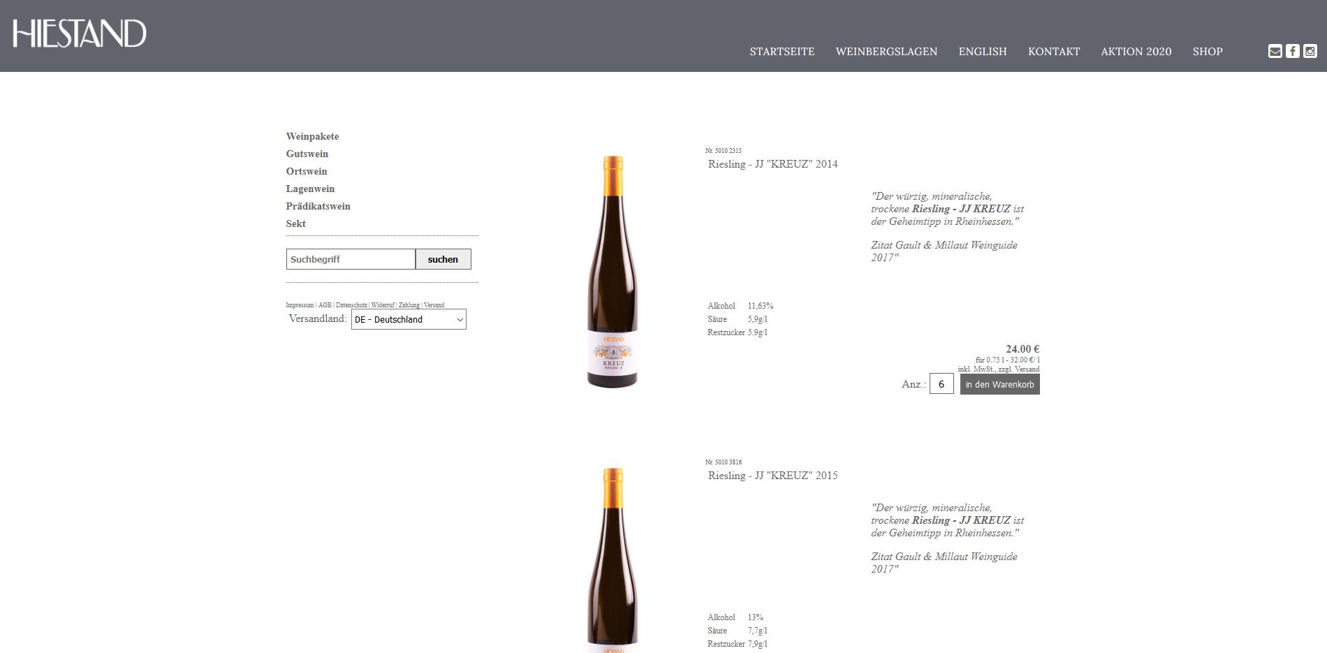 Screenshot Hiestand Shop