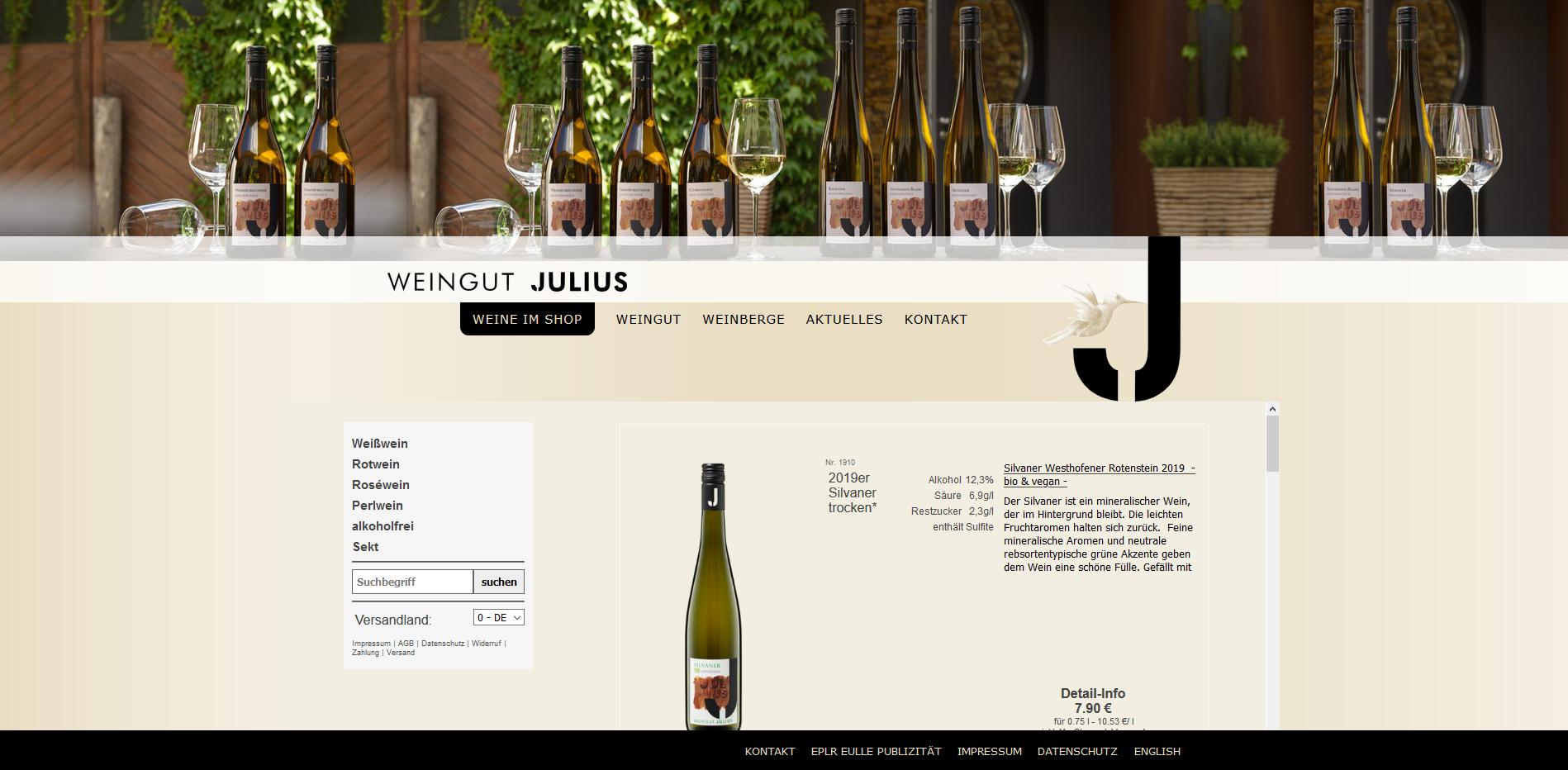 Screenshot vom Shop Julius