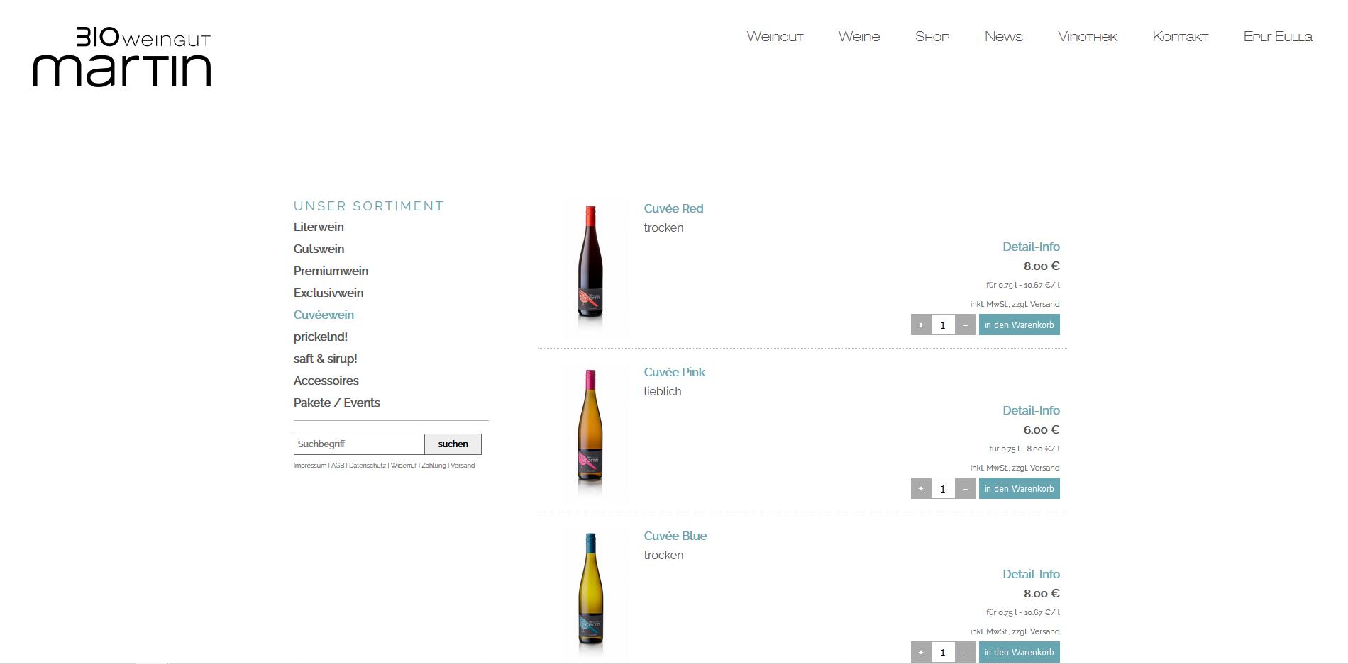 Screenshot vom Shop BioMartin