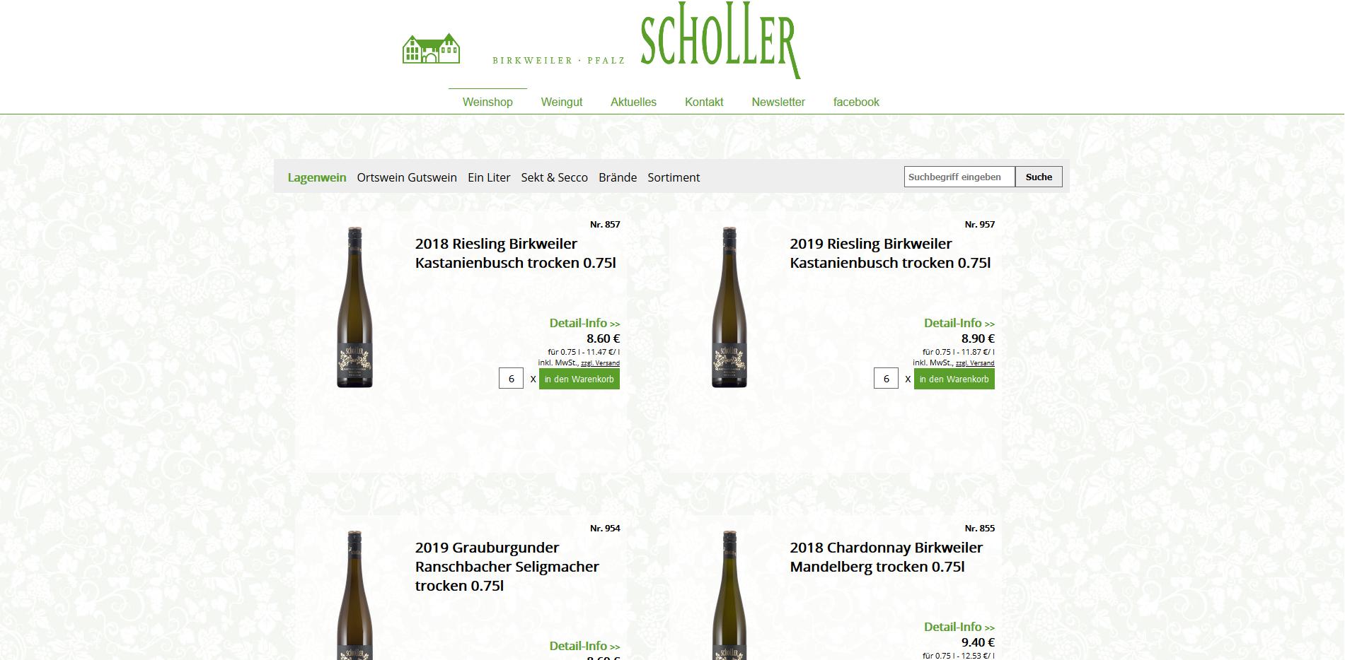 Screenshot Scholler Shop